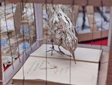Paper bird sculptures free to fly at the Edinburgh International Book Festival
