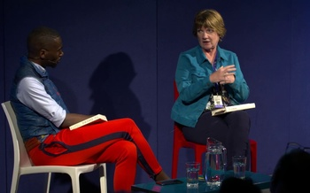 Jeanne Marie Laskas talks to DeRay Mckesson at the Edinburgh International Book Festival