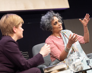 Arundhati Roy with Nicola Sturgeon at the Edinburgh International Book Festival