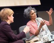 Arundhati Roy with Nicola Sturgeon at the Edinburgh International Book Festival